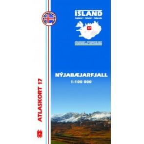 IJslandkaart Atlaskort 17 - Nyjabæjarfjall 1:100.000