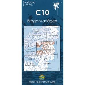 Topografische Kaart Spitsbergen C10 Braganzavågen 1:100.000