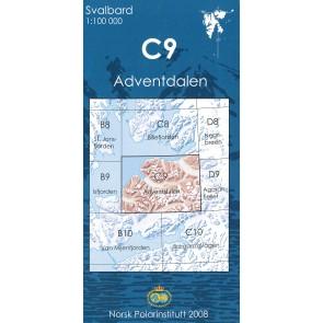 Topografische Kaart Spitsbergen C9 Adventdalen 1:100.000
