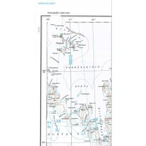 Kart Svalbard Nordauslandet 1:500.000 (Blad 4)