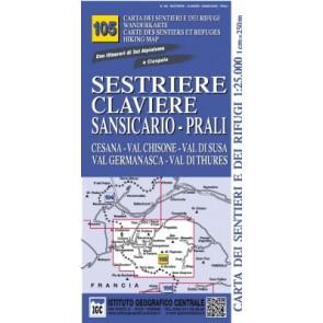 Wandelkaart Italiaanse Alpen Blad 105 - Sestriere Claviere Sansicario-Prali
